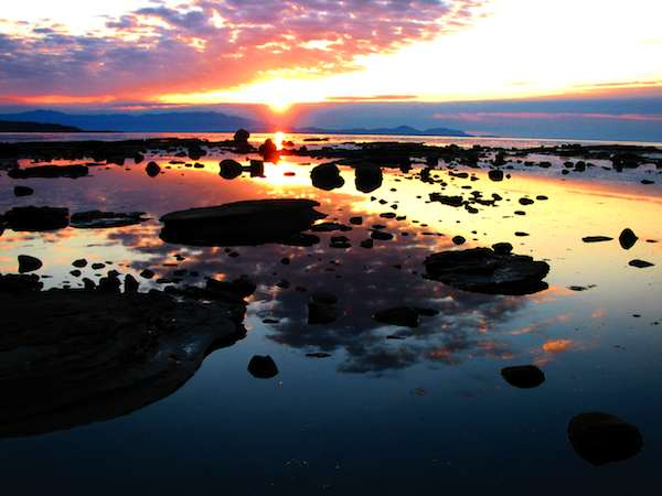 Sunrise and rock Hornby Island